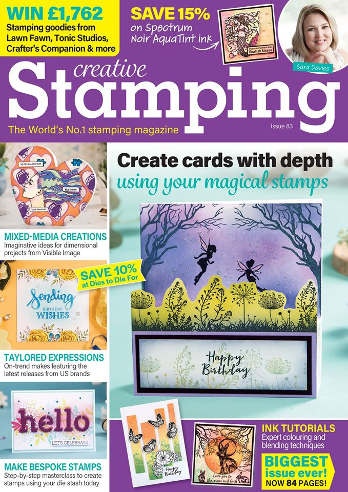 My Moon gazing hare is on the front cover of the current edition of Creative Stamping
