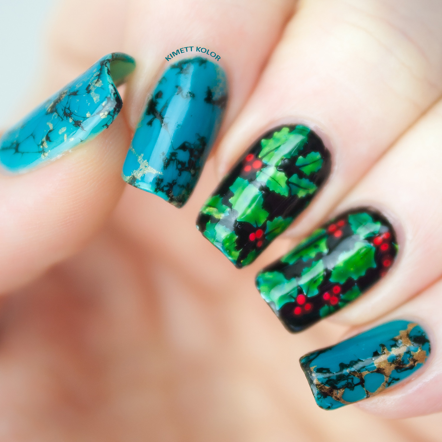 Turquoise and Holly December Nail Art by KimettKolor