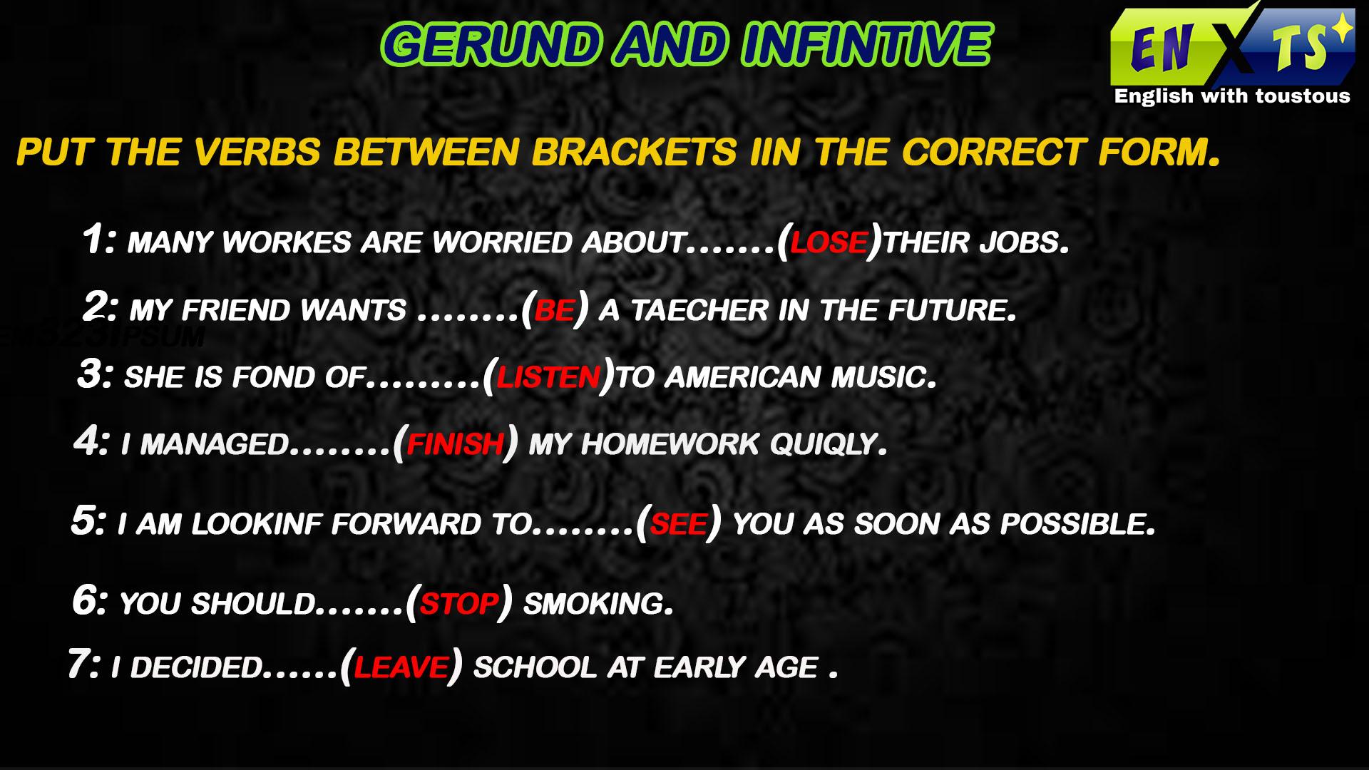 شرح بسيط  لدرس Gerund and Infinitive مع تمارين تفاعلية.