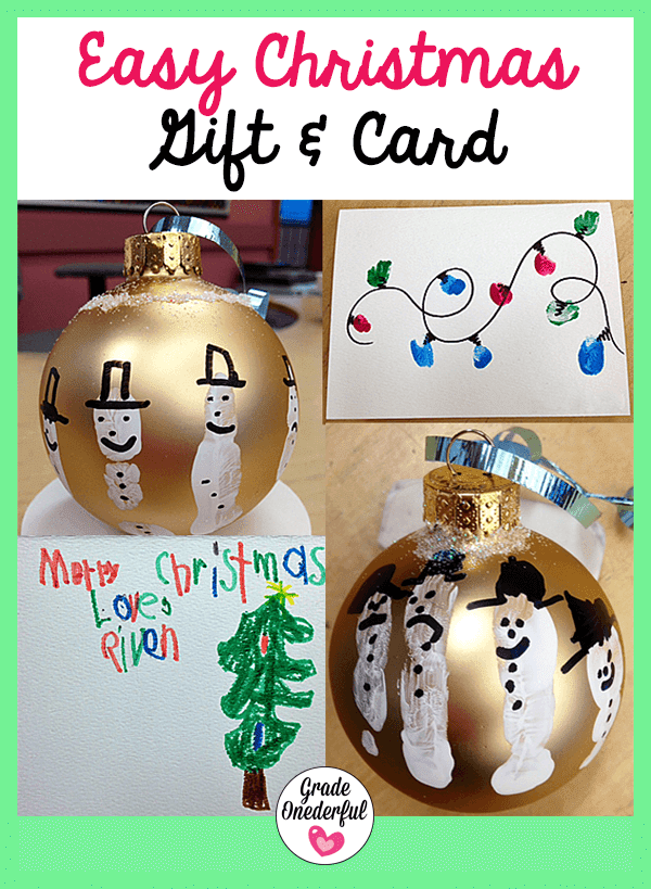 A snowman ornament DIY gift and DIY Christmas card with fingerprint light bulbs.