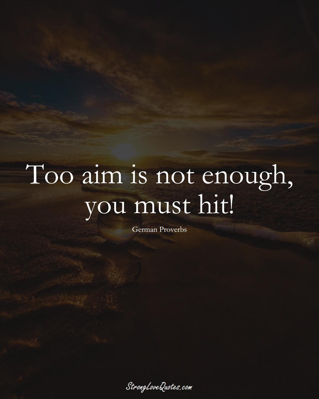 Too aim is not enough, you must hit! (German Sayings);  #EuropeanSayings