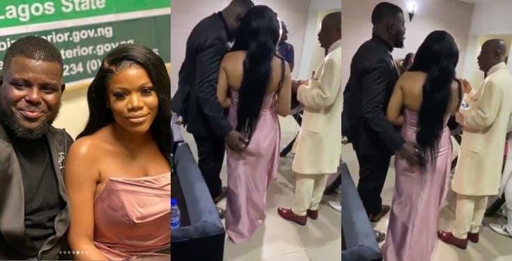 Weird! Man Grabs Wife's Bum During Prayer Session On Their Wedding Day (Video) #Arewapublisize
