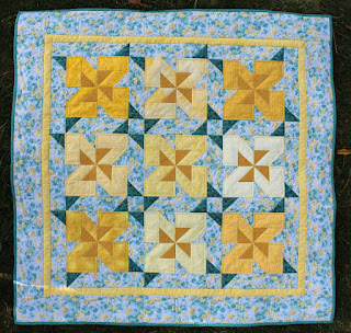 FLOWERS FOR NANA GIRL-BABY QUILT-YELLOW-QUILT FOR SALE
