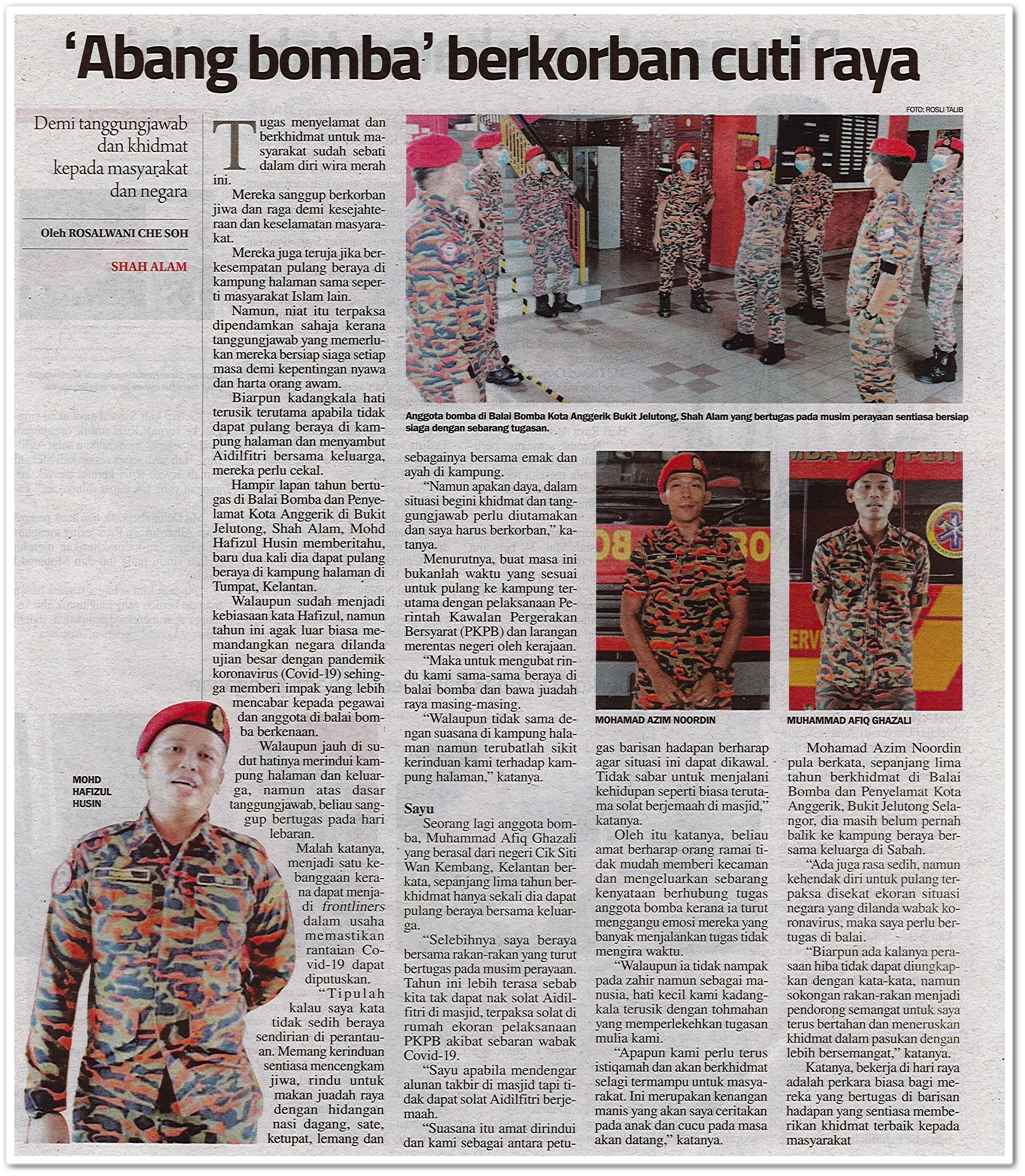 'Abang bomba' berkorban cuti raya - Keratan akhbar Sinar Harian 28 Mei 2020