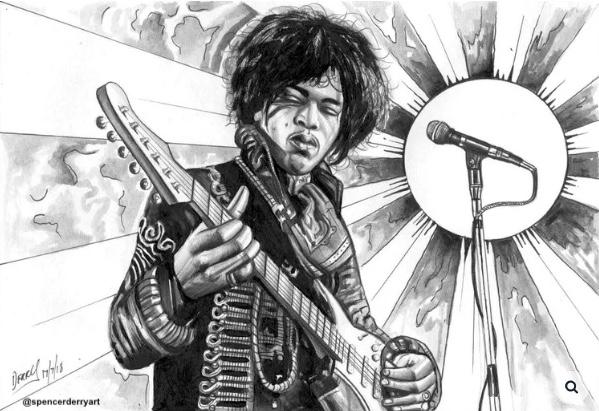 Pencil and paint artwork of  guitar legend Jimi Hendrix.