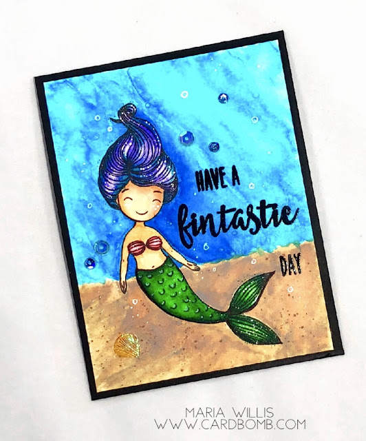 #cardbomb, #mariawillis, #cards, #stamp, #ink, #paper, #papercraft, #honeybeestamps, #rangerink, #arteza, #artezarealbrushpens, #art, #watercolor, #mermaid, #mermaidsong, #swimmingby, #distressoxideinks,