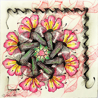 Pea-Nuckle in a circle as a flower with Tangle Patterns: Henna Drum, Flux, Fescu, and Dublin as a background tangle
