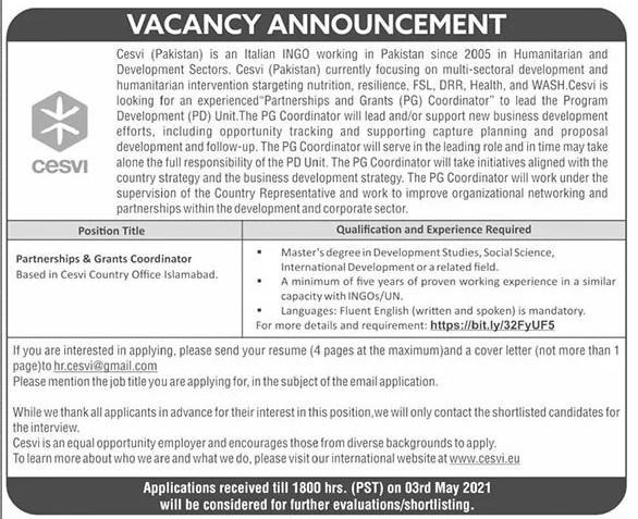 Cesvi Pakistan an Italian NGO Jobs 2021 in Pakistan