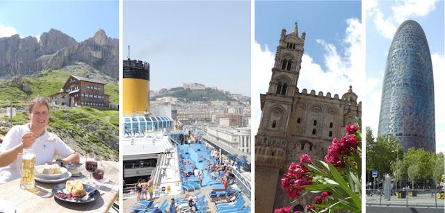 Collage Sommerurlaub 2018 - Südtirol und Kreuzfahrt Westliches Mittelmeer