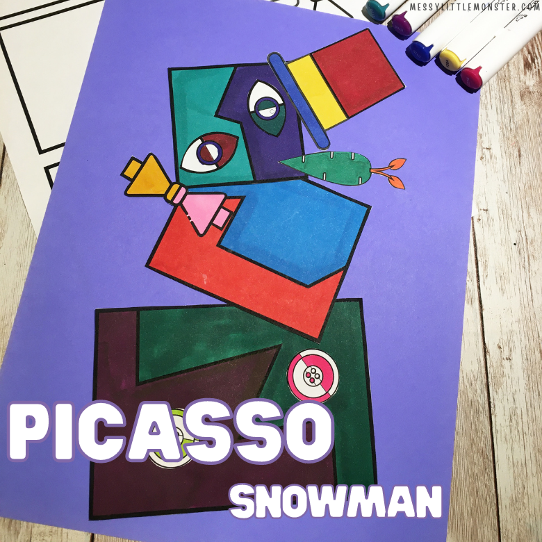 picasso snowman winter craft for kids