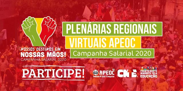 APEOC REALIZARÁ PLENÁRIAS REGIONAIS VIRTUAIS