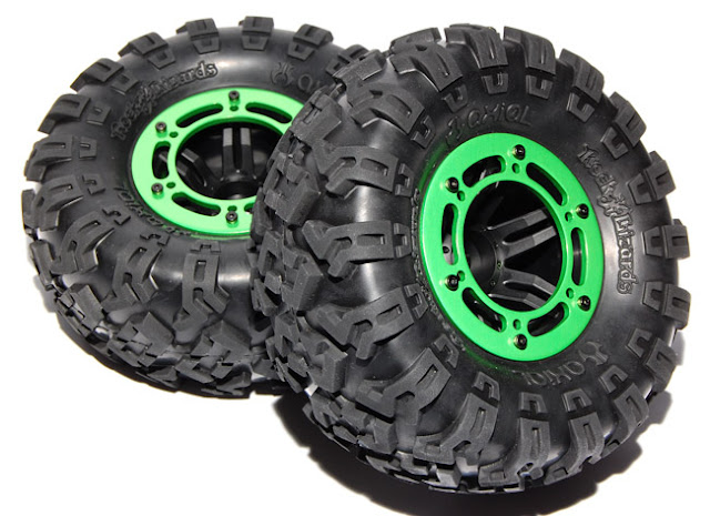 Axial AX10 Scorpion beadlock wheels assembled