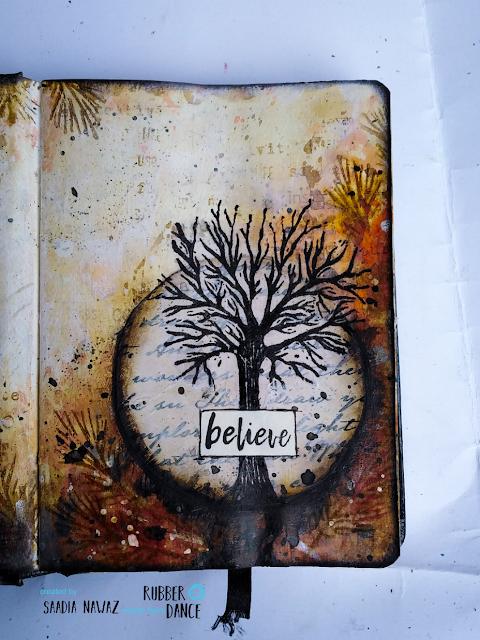 An autumn themed art journal spread