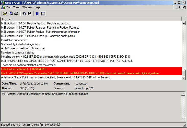 PC & System Center: Failed to install SCCM client by Right Click