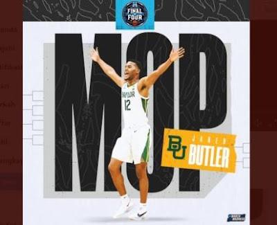 Jared Butler MOP, MOP NCAA, MVP NCAA, NCAA March Madness, Most Outstanding Player, Guard Baylor Bears, Penjaga, NCAA championship, basketball, basket