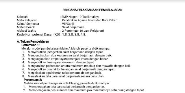 Contoh RPP Selembar PAI SMP 2019