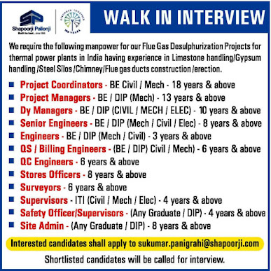 Requirement of Project coordinators, Senior Engineer, Engineers, Electrical Jobs