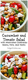 Cucumber and Tomato Salad with Marinated Garbanzo Beans, Feta, and Herbs [from KalynsKitchen.com]