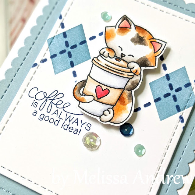 Coffee Cat Card by Melissa Andrew| Newton Loves Coffee Stamp Set, Argyle Stencil Set, and Frames & Flags Die Set by Newton's Nook Designs #newtonsnook