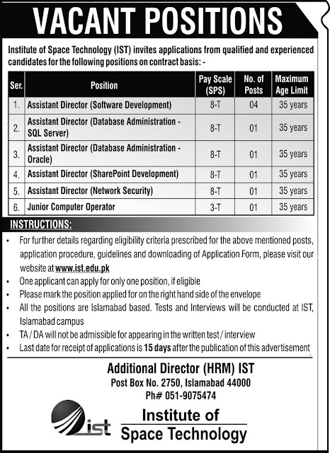 Institute of Space Technology IST in Islamabad jobs in Pakistan 22/02/2021 Latest