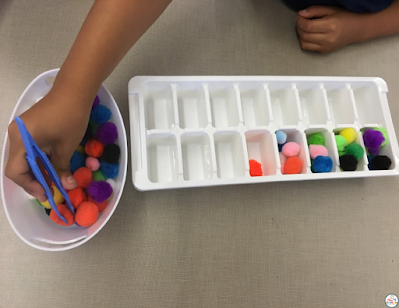 Fine motor activities with tons and pompms