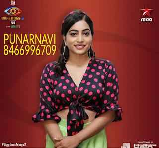 Punarnavi Bigg Boss 3 Voting Mobile Number is 8466996709