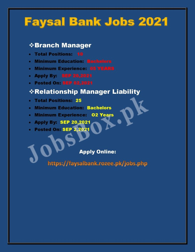 https://faysalbank.rozee.pk/jobs - Faysal Bank Jobs 2021 in Pakistan