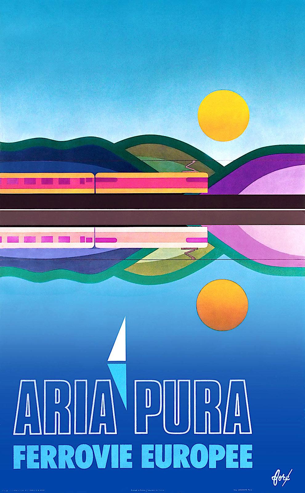 a 1974 travel poster, Ferrovie Europee