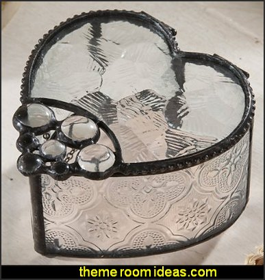 Glass Jewelry Box - Heart Shape & Glass Stones