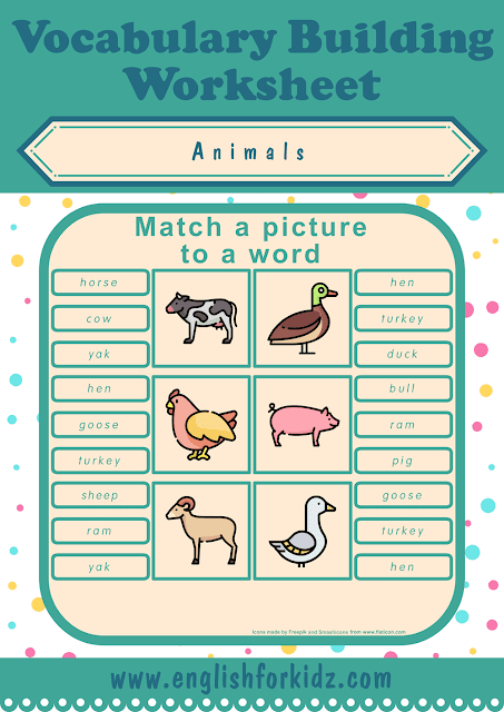 Farm animals worksheet - picture to word matching - free ESL printables