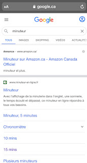 Raccourci Minuteur sur Google Recherche