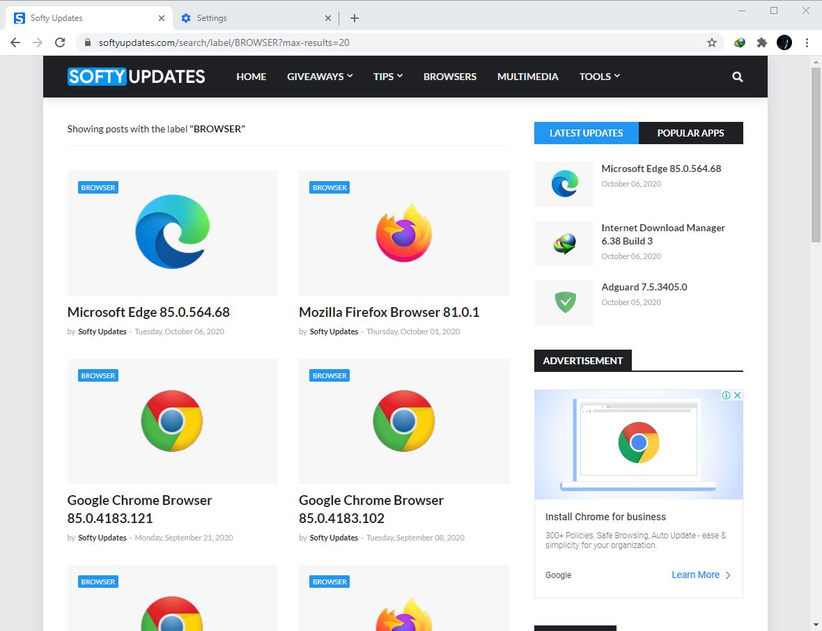 Google Chrome Browser 86.0.4240.75