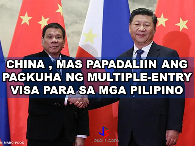 Acquiring a multiple-entry visa to China will be made easy for the Filipinos. According to Philippine Ambassador to China Jose Santa Romana, an increasing number of Filipinos are going to China these days. This may help the Filipinos to find jobs in the region amid the  economic crisis happening now in the  Middle East.  Santa Romana Also said that China can also offer new jobs for Filipinos such as English teachers and skilled workers. President Duterte mentioned about the employment opportunities that will soon serve thousands of OFWs during his arrival at the Davao International Airport from Beijing.  The improvement of Philippines and China relationship has opened new trade and employment opportunities but the issue on the territorial dispute in the South China Sea remains unresolved.     The arbitral ruling of the Permanent Court of Arbitration favoring the right of the Philippines and nullifying the claim of China over a part of the South China Sea and West Philippine Sea may be tackled at the right time, according to Santa Romana.  During his bilateral meeting the Chinese President, Duterte highlighted the strengthening of ties between the two countries which has been strained by the conflict.