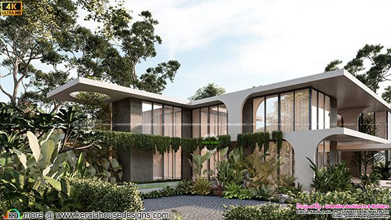 Tropical contemporary style side elevation rendering
