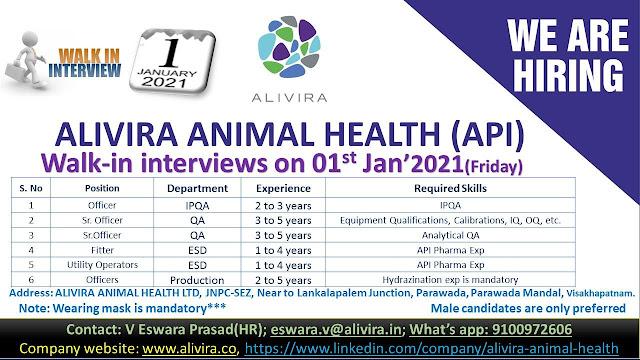 Alivira Animal Health Ltd WalkIn Interviews for IPQA QA Production Departments on 1st Jan 2020