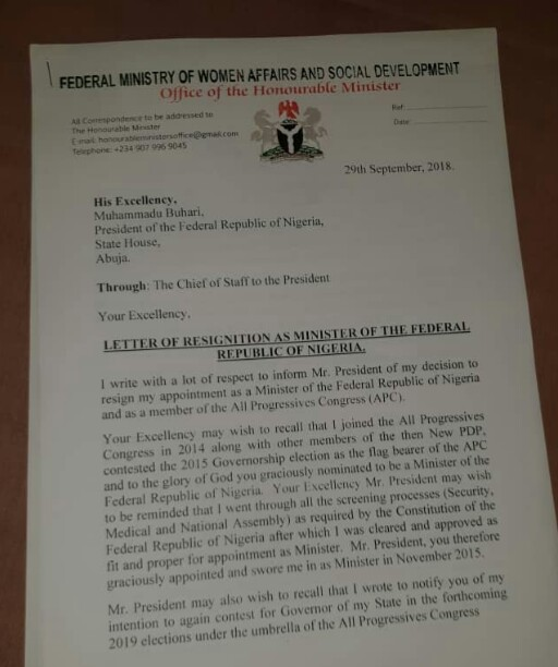 Mama Taraba Resigns As Minister (See Resignation Letter)
