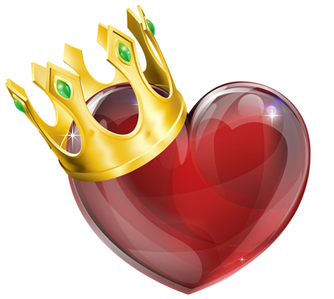 Royal heart emoticon with a crown