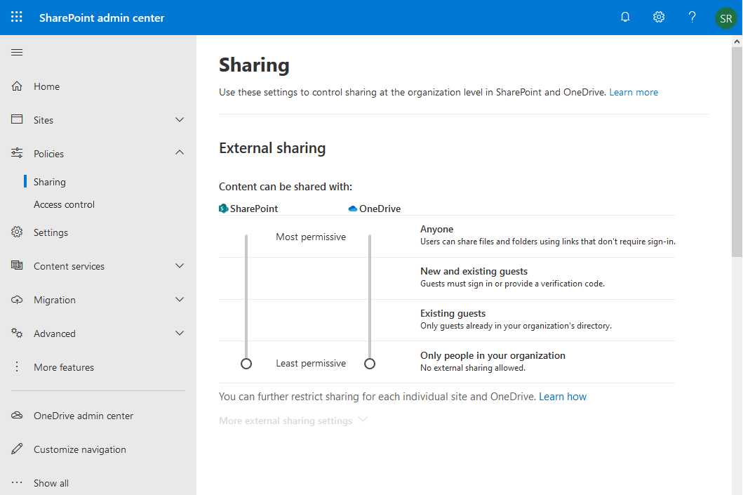 sharepoint online disable external sharing powershell