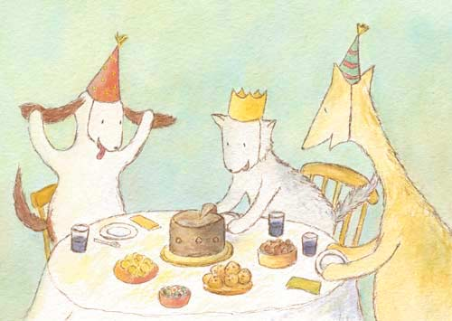 Postcard illustration of Hulmu Hukka and Haukku Spaniel waiting to get a piece of cake at birthday party
