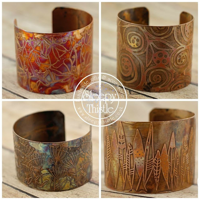 Copper etched cuffs by Margaret Read from Sleepy Thistle made using Nadine Muir's Edinburgh Etch tutorial on Silhouette UK Blog
