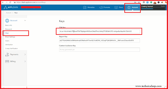 Account->Key->SDK KEY