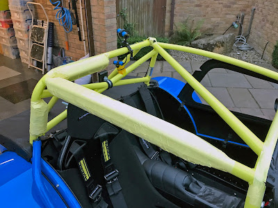 Roll Cage Padding (partially) fitted - must change the colour of the tape!