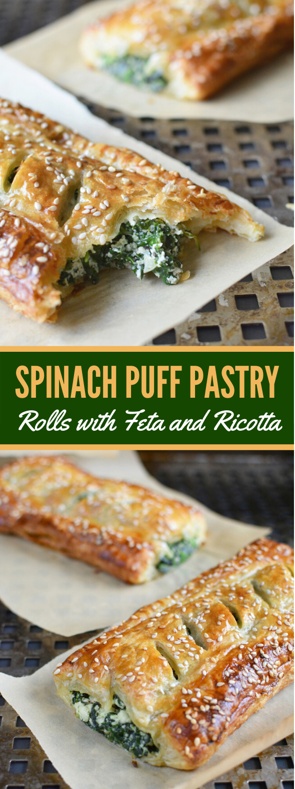 SPINACH PUFF PASTRY ROLLS WITH FETA & RICOTTA #vegetarian #appetizers