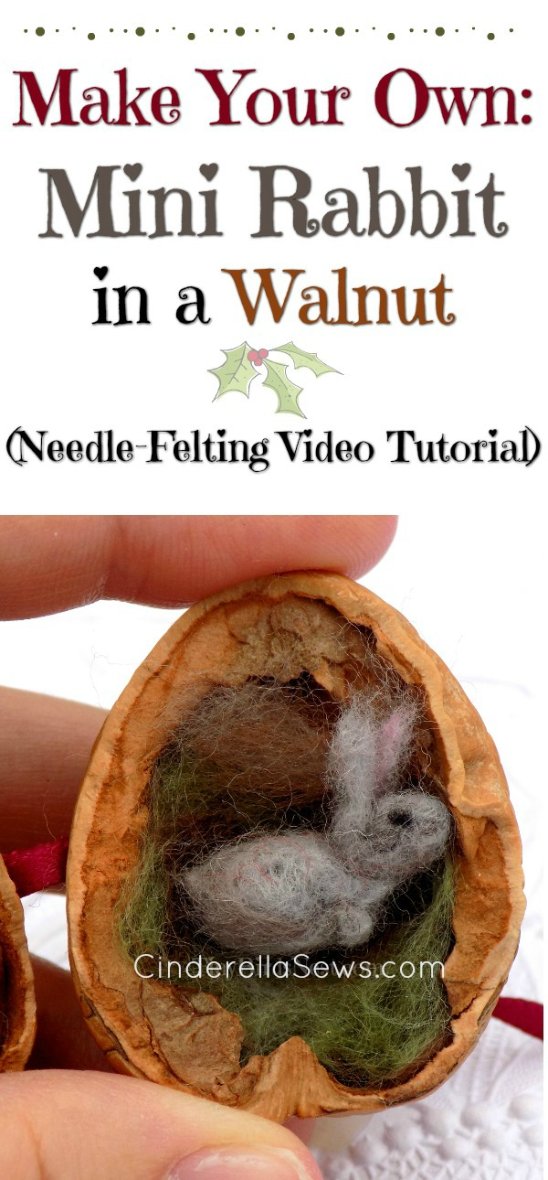 "Inspired by Beatix Potter's ""Flopsy,"" this tiny needle-felted rabbit is the perfect gift for kids or adults who love tiny things or have a fairy garden or doll house. This DIY video tutorial teaches you how to make this bunny in a walnut shell."