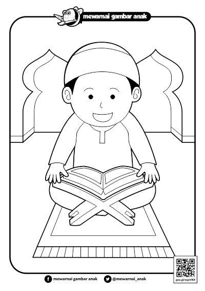 Mewarnai Anak Mengaji : mewarnai, mengaji, Mewarnai, Orang, Mengaji, Menggambar