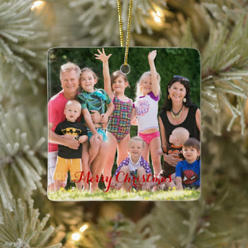 Create Your Own Square Ceramic Holiday Christmas Photo Ornament