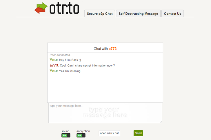 OTR.to — Secure 'Off-the-Record' p2p Encrypted Messaging Service
