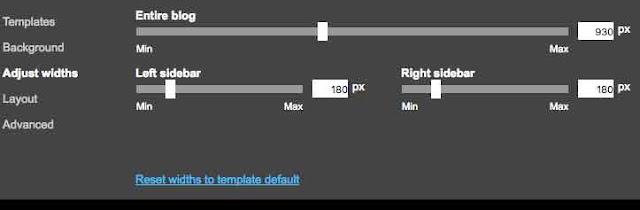 لوحة تعديل عرض أقسام الصفحة في مصمم بلوجر