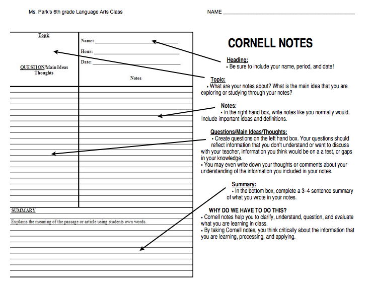 Miss heyman 39 s teaching tools for 3 column notes template