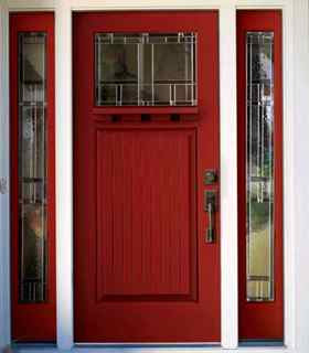 Kholer red home entry door